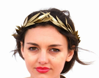 Gold leaf Crown, Gold Headband, Golden leaves Headpiece,  Greek Goddess, Flower crown, Woodland Hair Wreath, Holiday party