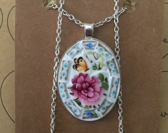Mosaic Pendant & Necklace - Butterfly