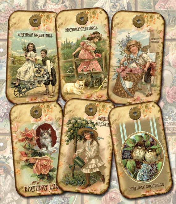 Happy Birthday Gift Tags Vintage Art Florals/Cats/Victorian