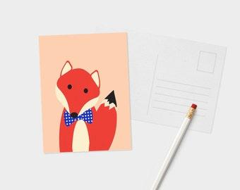 Portrait de Monsieur renard carte postale - Postcard Animal mignon - Smart Animal carte postale - carte postale pour les amoureux des animaux - renard amant carte postale