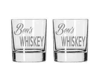 Personalized Whiskey Glass  - Deep Etched Straight Sided Rocks Glass, Double Old Fashioned, Personalized Rocks Glass, Custom Whiskey Glass