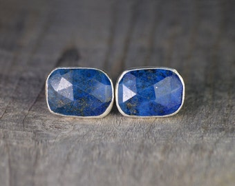 Lapis Lazuli Cufflinks Set In Sterling Silver, Something Blue Wedding Gift For Him, Handmade In UK
