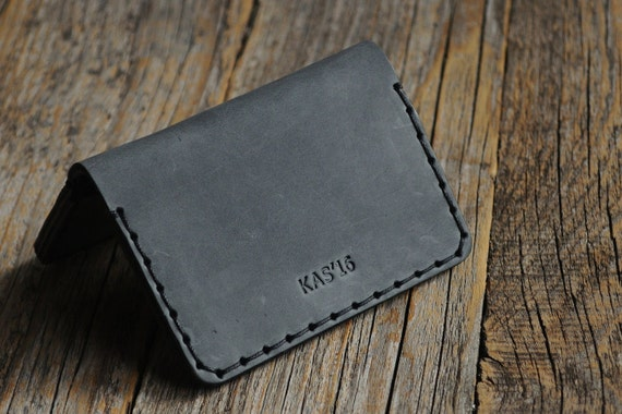 Black Grey Personalized Leather Wallet Credit Card Holder Pockets for Cash or ID Rustic Style Unisex Pouch Monogram your name! Perfect Gift!