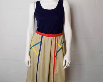 Vintage 80's Toni Todd Multi-Colored Belted Tank Dress Size 8