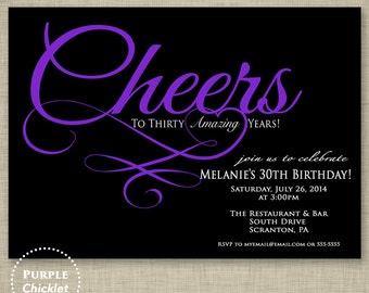 30th Birthday Invitation Cheers to Thirty Years Invite Purple Black Party Invite Adult Party Invite Printable Invitation JPG File Invite 134