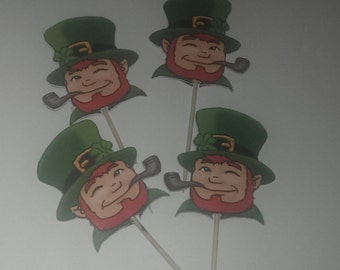 12 Leprechaun Party Picks - Cupcake Topper - Toothpicks - Food Picks Die Cut Punch Cardstock