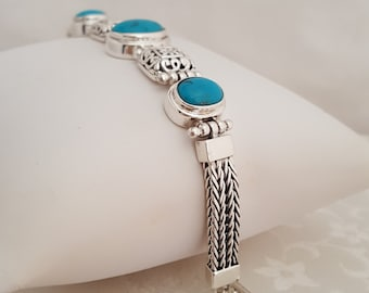 """Turquoise and Sterling Silver 7 1/2"""" Toggle Bracelet -EB621"""