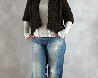 Hand Knitted Dark Brown Cardigan Womens Knit Sweater Custom Made Cardigan