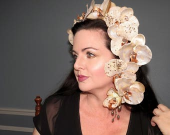 CHAMPAGNE TROPICS Bronze Champagne Silver Orchid  Tropical Style Headdress