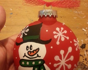 Snowman Christmas Ornament handpainted and personalized