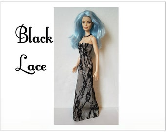 TALL Barbie Fashionistas Doll Clothes - BLACK LACE Gown and Jewelry - Handmade Fashion by dolls4emma