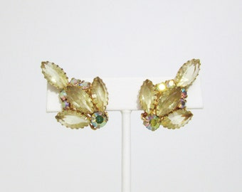 Vintage Earrings: Yellow and Aurora Borealis Rhinestones