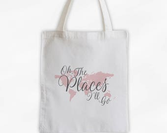 World map tote bag etsy world map oh the places ill go cotton canvas tote bag custom travel bag in charcoal gray and pink 3014 gumiabroncs Choice Image