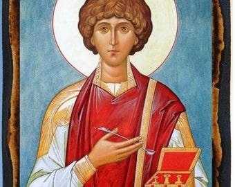 Saint Pantaleon (Panteleimon) Greek Orthodox Russian Mount Athos Christian Catholic Icon on Wood