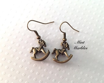 Rocking Horse Earrings. Dangle Earrings. Brass. Vintage Style. Sweet Childhood Toys. Cute. Memories. Tiny Earrings. Under 10 Gifts for Her.