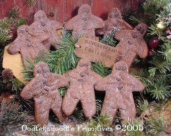 Primitive Christmas Gingerbread Man Cookies Instant Digital Download E-Pattern ET