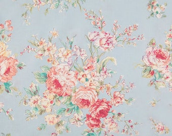 FABRIC-Light Blue and Pink Floral Fabric by the Yard-Quilt Fabric-Apparel Fabric-Home Decor Fabric-Fat Quarter-Craft Fabric-Fat Quarters