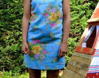 Women's dress, shift dress, blue dress, patterned dress, Vintage floral dress, Fabric size 10/38
