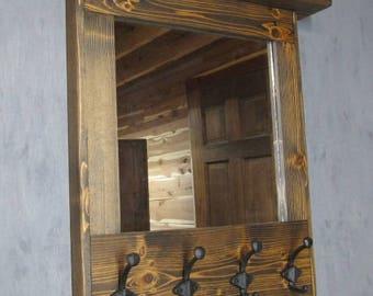 Mirror, READY TO SHIP   Coat Rack Mirror, Wall Mirror,  Wall Coat Rack Shelf, Coat Rack with Shelf