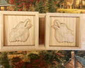 Pair of Wolf Wooden Shelf...