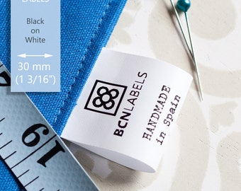 Polyamide 200 pcs Custom Care Labels / Printed Sew in Composition Labels 30 mm wide