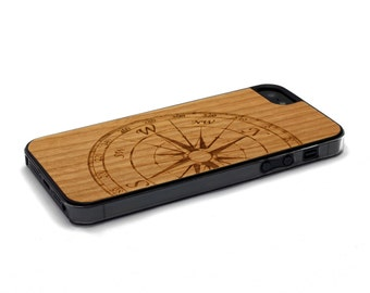 iPhone 5 Case Wood Compass, Wood iPhone SE Case, iPhone 5S Case Wood