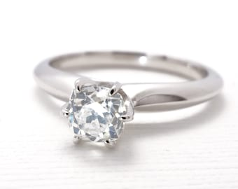 Antique Cushion Cut Diamond Engagement Ring | White Gold | Old Mine Cut Diamond
