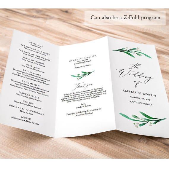 "Z Fold or Trifold Wedding Program Printable Template Order of Service Greenery Wedding, no trimming ""Wedding Greenery"" Edit in ACROBAT"