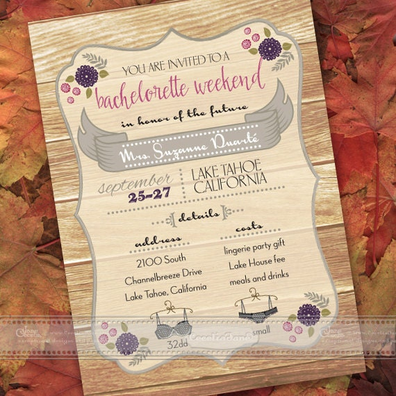 bachelorette party invitations, plum and gray bachelorette party invitations, plum bachelorette weekend, girls weekend invitations, IN397