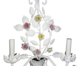 Pair Vintage Italian Tole Sconces Shabby White Rose Porcelain Sconces Pair Italian Pink/Yellow Tole Porcelain Sconces