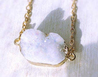White Druzy Necklace on Gold Chain