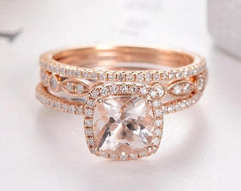 Art Deco Morganite Bridal Set Cushion Cut Rose Gold Wedding Ring Set  Marquise Antique Diamond Eternity