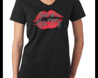 Shut up and Kiss Me - Valentines Day Bling T-Shirt, V-Day Shirt, Valentines Gift