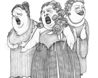 Three divas - Art print