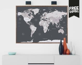 world map travel poster wanderlust map of the world mapamundi world travel map travel map world poster gift for him gift ideas