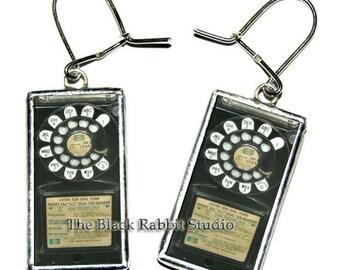 Vintage Telephone Phone Earrings, Vintage rotary phone earrings, phone earrings, phone stud earrings, telephone earrings,