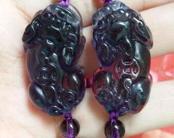 Amethyst bracelet brave Lucky synthesis Purple Pi Yao beaded stretch bracelet bracelet male and female models