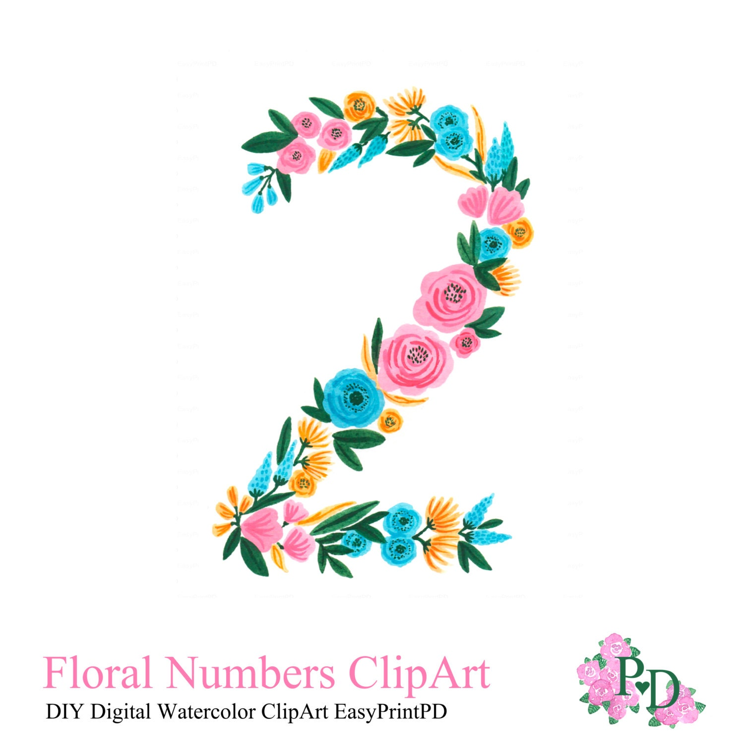 Floral Numbers Print Watercolor Clipart Number 2 Printable