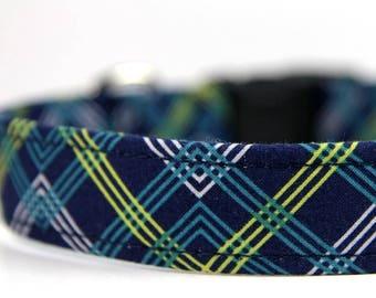 Blue Plaid dog collar, Personalized Collar optional,  Adirondack