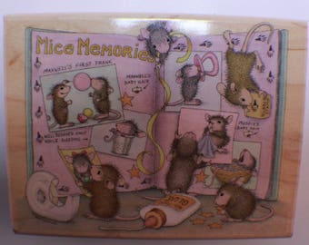 Stampabilities wooden rubber stamp House Mouse Mice Memories Scrap Booking
