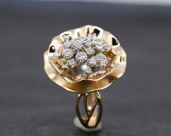 18kt rose gold diamond statement ring