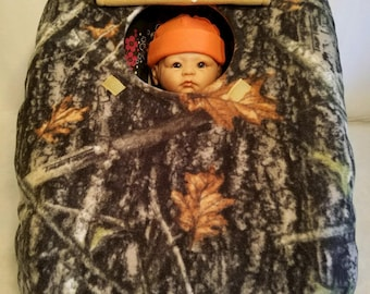 "Car Seat Cover True Timber New Conceal Camo Baby With Tan Fleece Hand Made Cozy Infant Carrier Custom Embroidery ""My Little Dear"" & Antlers"