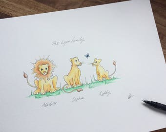 Personalised Lions family picture. Beautiful hand drawn, painted & personalised family of Lions. Perfect gift for any Lion fan!