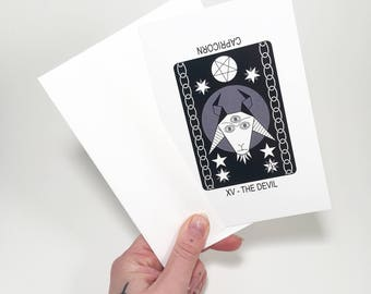 XV The Devil (Capricorn) Blank Greeting Card