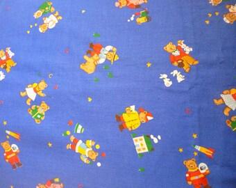 VIP Cranston Bright Blue Bears Fabric - One yard