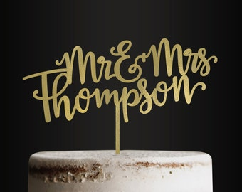 Personalized Wedding Cake Topper, Mr and Mrs, Last Name, Custom Cake Topper, Customizable Cake Topper