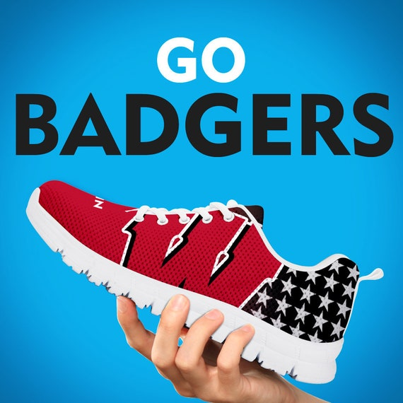 Custom Wisconsin Shoes Sizes Kids Womens Badgers Collector Gift Black Sneakers Mens White Gift Gift Running Trainers Football 4rPq4w