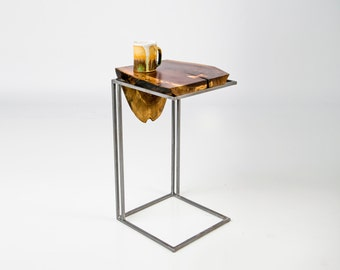 C Table - Solid Black Walnut live edge Top with Metal base