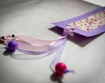 Bookmark in card stock, Japponais floral pink/purple color with pearls
