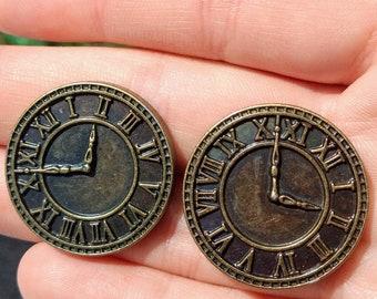 Clock face stud earrings, steampunk clock stud earrings,